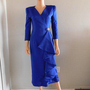 Vintage VICTOR COSTA Royal Blue Evening Dress S M